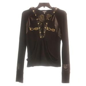 Bebe logo faux leather angel wing pullover hoodie